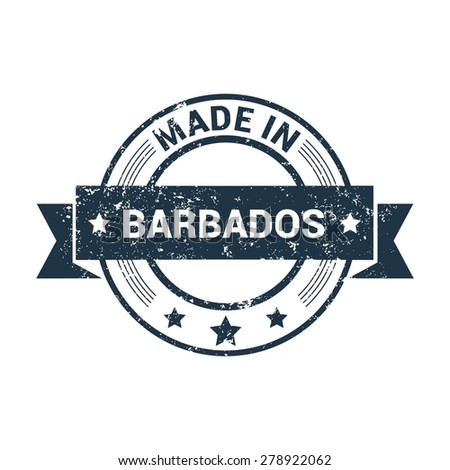Made in Barbados - Round blue grunge rubber stamp design isolated on white background. vector illustration vintage texture. - stock vector