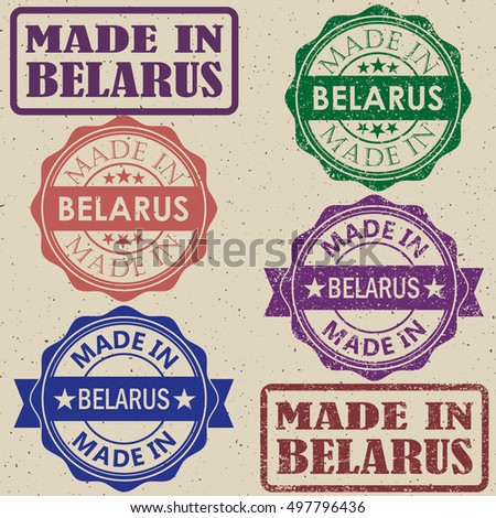 made in Belarus vintage stamp Set vector illustration.