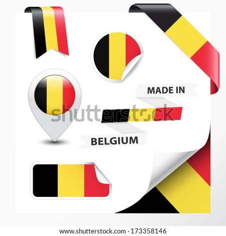 Made in Belgium collection of ribbon, label, stickers, pointer, badge, icon and page curl with Belgian flag symbol on design element. Vector EPS10 illustration isolated on white background. - stock vector