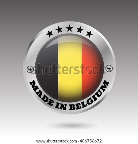 Made in belgium silver badge and icon with glossy  flag symbol  vector eps10 illustration