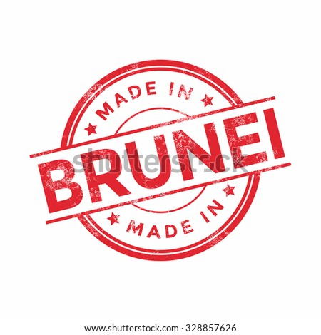 Made in Brunei red vector graphic. Round rubber stamp isolated on white background. With vintage texture.