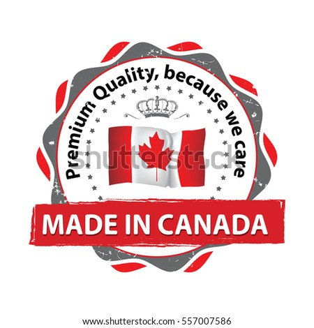 Made in Canada, Premium Quality, because we care - stamp / label / icon with the map and Canadian flag. Print colors used