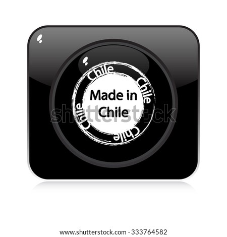 made in chile - button - stock vector