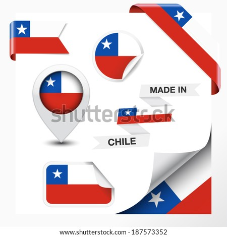 Made in Chile collection of ribbon, label, stickers, pointer, badge, icon and page curl with Chilean flag symbol on design element. Vector EPS 10 illustration isolated on white background. - stock vector