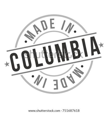 Made Columbia Stamp Logo Icon Symbol Stock Vector 751687618