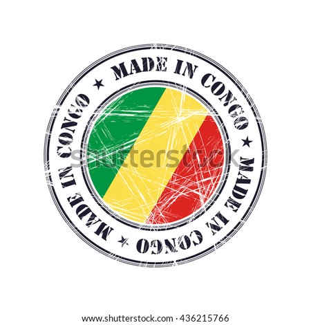 Made in Congo grunge rubber stamp with flag - stock vector