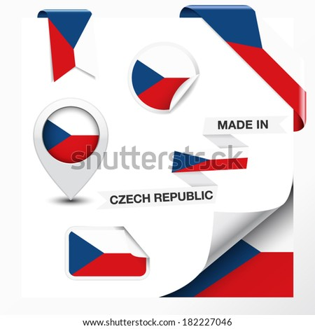 Made in Czech Republic collection of ribbon, label, stickers, pointer, icon and page curl with Czech flag symbol on design element. Vector EPS 10 illustration isolated on white background. - stock vector
