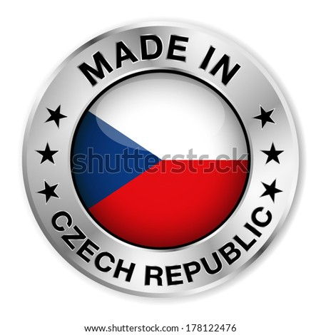 Made in Czech Republic silver badge and icon with central glossy Czech flag symbol and stars. Vector EPS 10 illustration isolated on white background. - stock vector