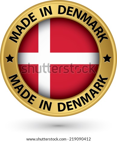 Made in Denmark gold label with flag, vector illustration