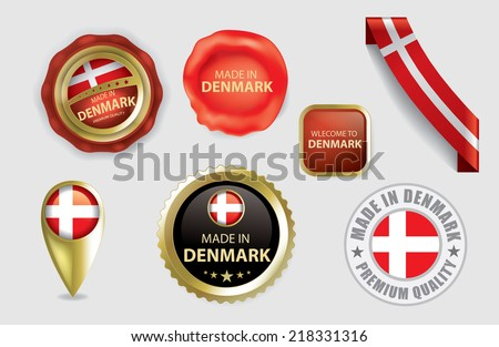 Made in Denmark Seal Collection, Danish Flag (Vector Art)