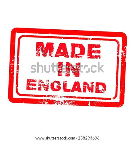 made in england red grunge stamp isolated on white background