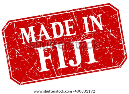 made in Fiji red square grunge stamp