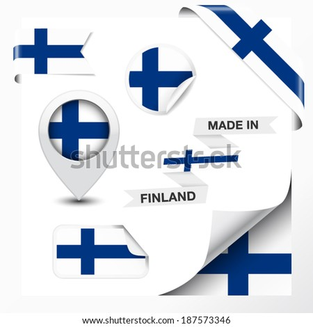 Made in Finland collection of ribbon, label, stickers, pointer, badge, icon and page curl with Finnish flag symbol on design element. Vector EPS 10 illustration isolated on white background. - stock vector