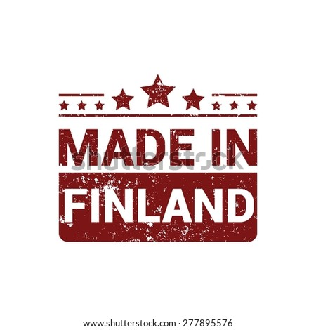 Made in Finland - Red grunge rubber stamp design isolated on white background. vector illustration vintage texture. - stock vector