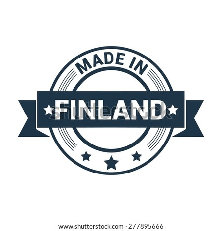 Made in Finland - Round blue rubber stamp design isolated on white background. vector illustration vintage texture. - stock vector