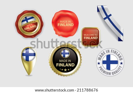 Made in Finland seals, Finnish Flag (vector art) - stock vector