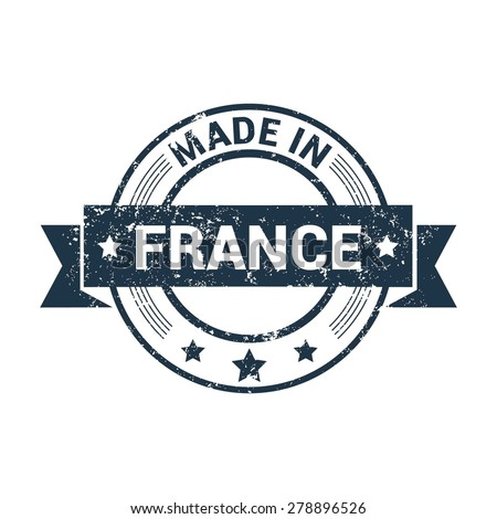 Made in France - Round blue grunge rubber stamp design isolated on white background. vector illustration vintage texture. - stock vector