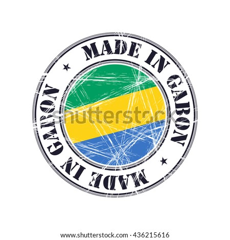 Made in Gabon grunge rubber stamp with flag - stock vector