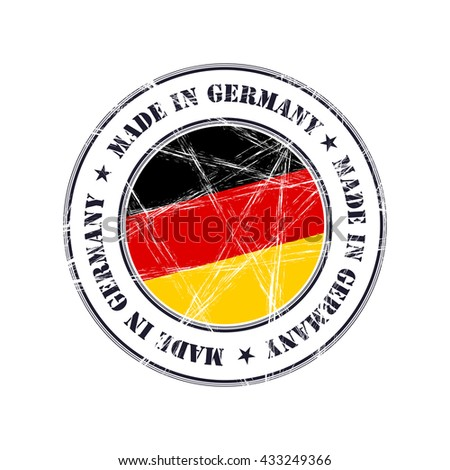 Made in Germany grunge rubber stamp with flag - stock vector