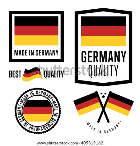 Made in Germany label set. Vector Germany flag. Germany quality tag. Germany produce. Made in Germany logo. Manufactured by Germany. Best quality. Made in Germany stamp.  - stock vector