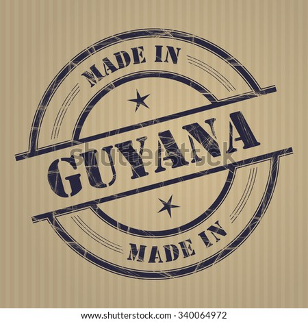 Made in Guyana grunge rubber stamp - stock vector