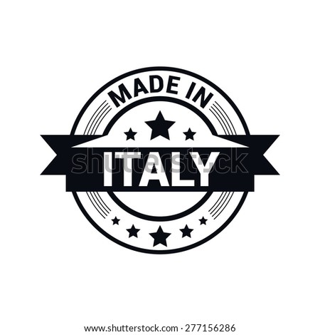Made in Italy . Round black rubber stamp design isolated on white background. With vintage texture. vector illustration - stock vector