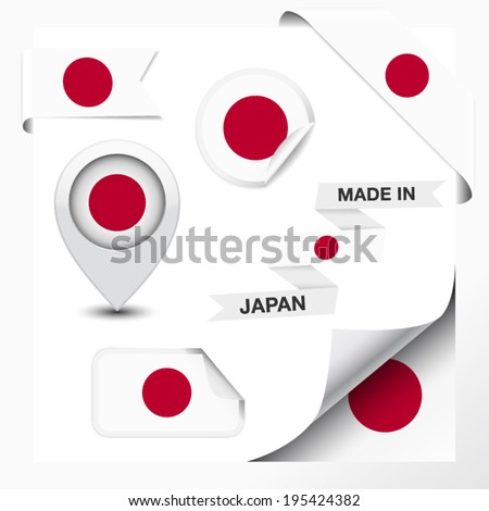 Made in Japan collection of ribbon, label, stickers, pointer, badge, icon and page curl with Japanese flag symbol on design element. Vector EPS 10 illustration isolated on white background. - stock vector