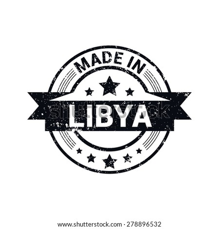 Made in Libya - Round black grunge rubber stamp design isolated on white background. vector illustration vintage texture. - stock vector