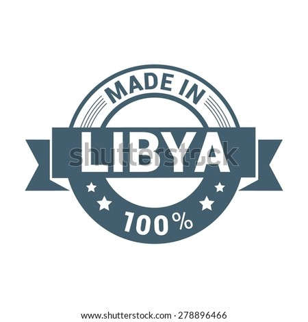 Made in Libya - Round blue rubber stamp design isolated on white background. vector illustration vintage texture. - stock vector