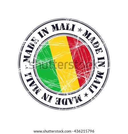 Made in Mali grunge rubber stamp with flag - stock vector