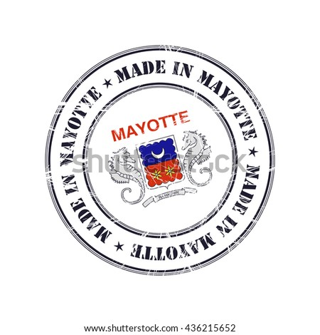Made in Mayotte grunge rubber stamp with flag - stock vector