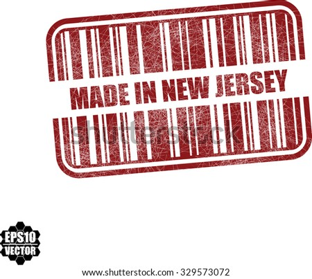 Made in New Jersey  With Barcode And Shadow Red Grunge Stamp Isolated On White Background. Vector illustration  - stock vector