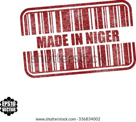 Made in Niger - red barcode grunge rubber stamp design isolated on white background. Vintage texture. Vector illustration - stock vector