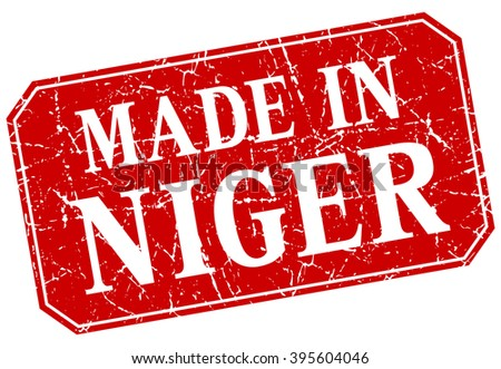 made in Niger red square grunge stamp