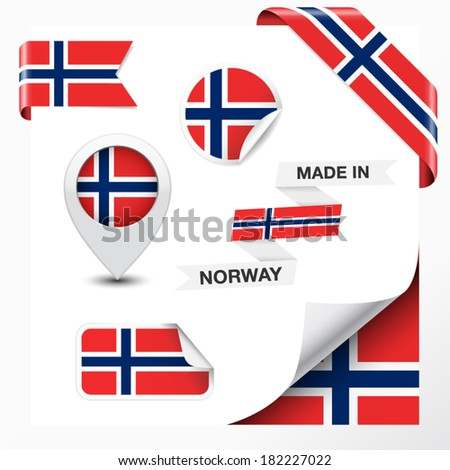 Made in Norway collection of ribbon, label, stickers, pointer, badge, icon and page curl with Norwegian flag symbol on design element. Vector EPS 10 illustration isolated on white background. - stock vector