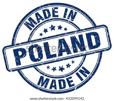 made in Poland blue round vintage stamp.Poland stamp.Poland seal.Poland tag.Poland.Poland sign.Poland.Poland label.stamp.made.in.made in. - stock vector