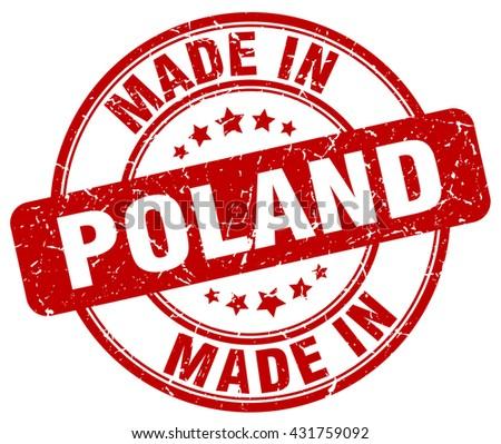 made in Poland red round vintage stamp.Poland stamp.Poland seal.Poland tag.Poland.Poland sign.Poland.Poland label.stamp.made.in.made in. - stock vector
