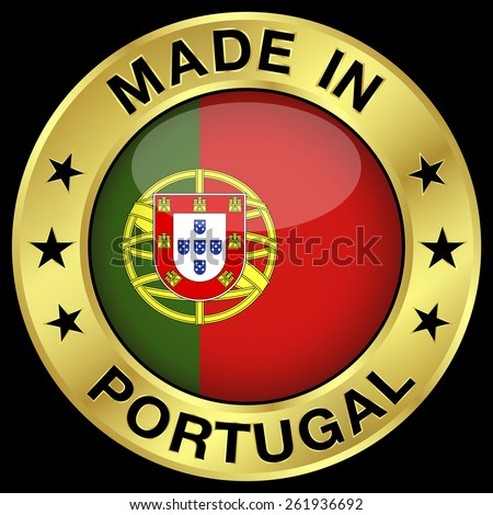 Made in Portugal gold badge and icon with central glossy Portuguese flag symbol and stars. Vector EPS 10 illustration isolated on black background. - stock vector
