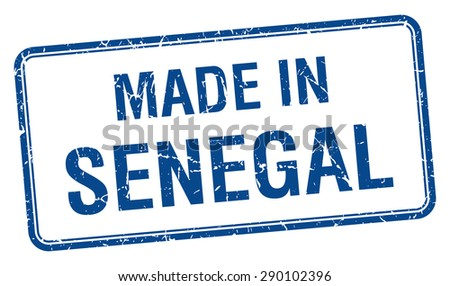 made in Senegal blue square isolated stamp