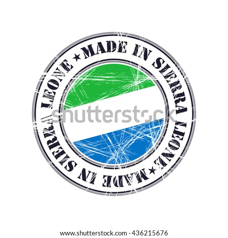 Made in Sierra Leone grunge rubber stamp with flag - stock vector