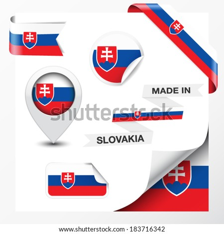 Made in Slovakia collection of ribbon, label, stickers, pointer, icon and page curl with Slovak flag symbol on design element. Vector EPS 10 illustration isolated on white background. - stock vector