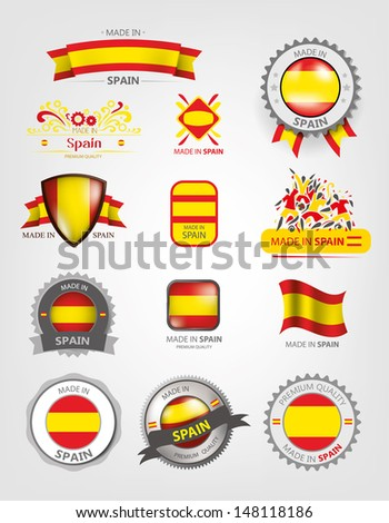 Made in Spain, Seals, Flags - stock vector