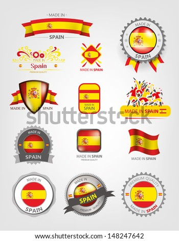 Made in Spain, Seals, Flags, Icons - stock vector