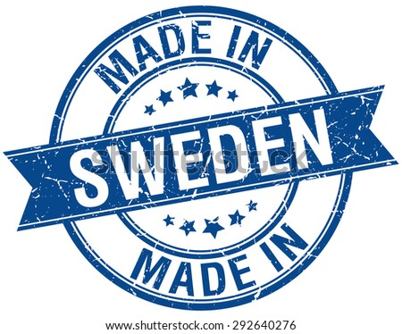 made in Sweden blue round vintage stamp
