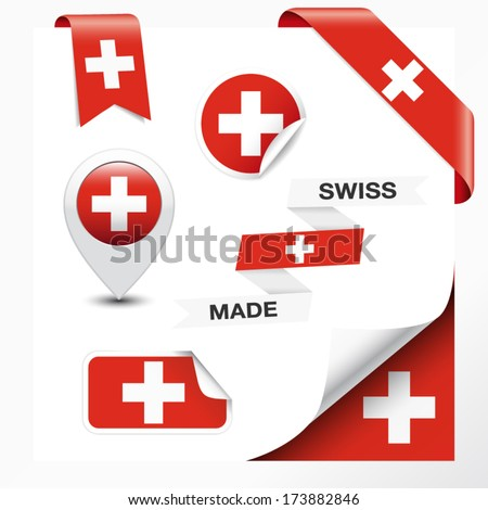 Made in Switzerland collection of ribbon, label, stickers, pointer, badge, icon and page curl with Swiss flag symbol on design element. - stock vector
