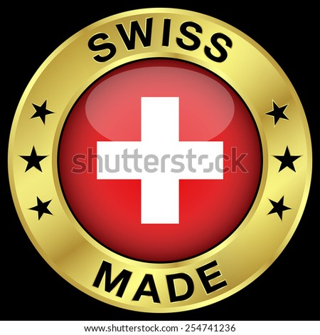 Made in Switzerland gold badge and icon with central glossy Swiss flag symbol and stars. Vector EPS 10 illustration isolated on black background. - stock vector