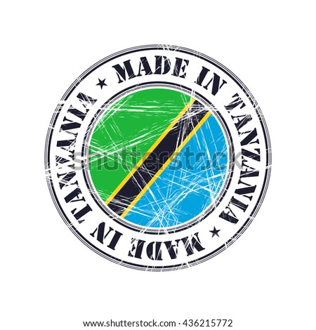 Made in Tanzania grunge rubber stamp with flag - stock vector