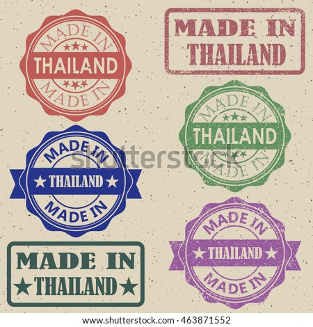 made in thailand vector illustration set of stamps.