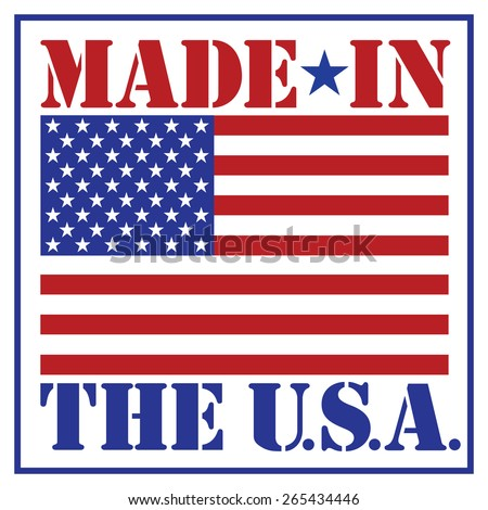 Made in the U.S.A. text design with the American flag. - stock vector