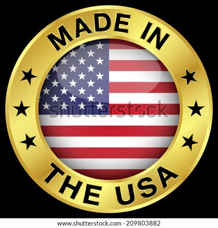 Made in The USA gold badge and icon with central glossy United States Of America flag symbol and stars. Vector EPS 10 illustration isolated on black background. - stock vector